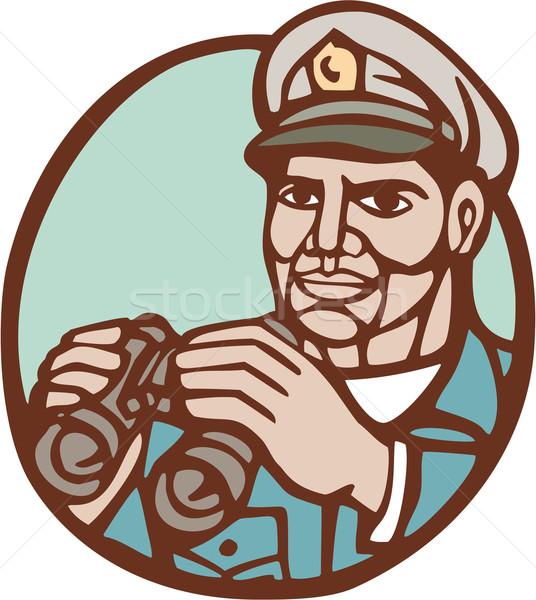 Navy Admiral Binoculars Circle Linocut Stock photo © patrimonio