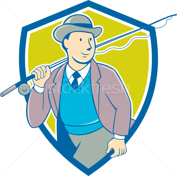 Vintage Fly Fisherman Bowler Hat Shield Cartoon Stock photo © patrimonio