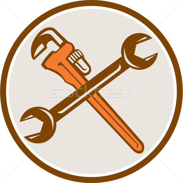 Spanner Monkey Wrench Crossed Circle Retro Stock photo © patrimonio