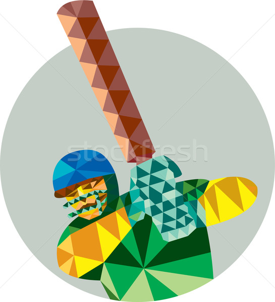 Cricket Spieler niedrig Polygon Stil Illustration Stock foto © patrimonio