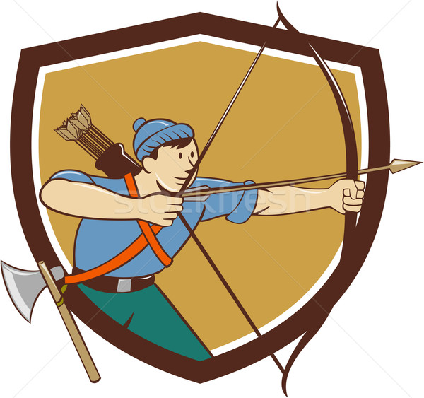 Archer Aiming Long Bow Arrow Cartoon Crest Stock photo © patrimonio