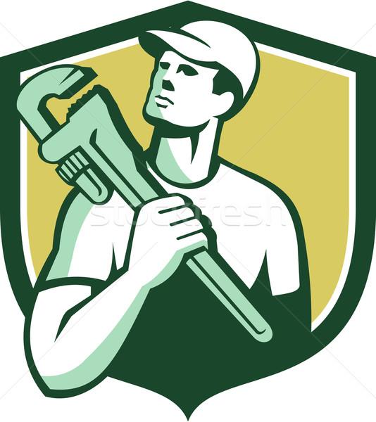 Tradesman Plumber Wrench Shield Retro Stock photo © patrimonio