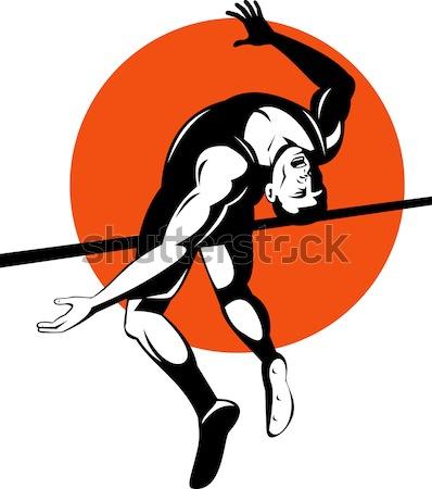 Knight Lance Steed Prancing Isolated Cartoon Stock photo © patrimonio