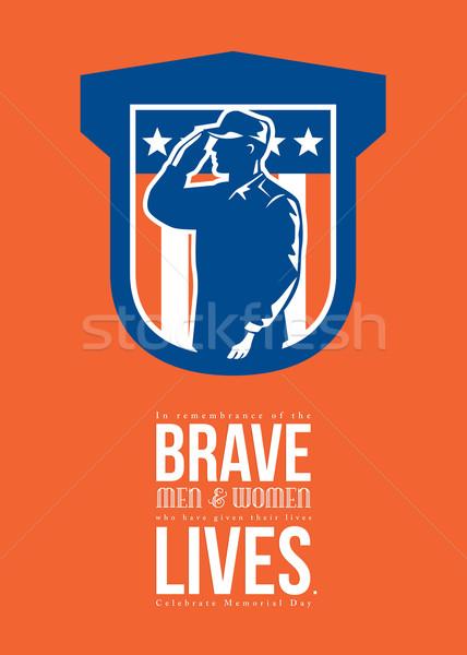 Memorial Day Greeting Card Miilitary Serviceman Salute Shield Stock photo © patrimonio