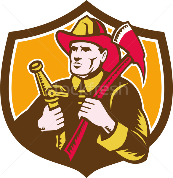 Fireman Firefighter  Axe Hose Crest Woodcut Stock photo © patrimonio