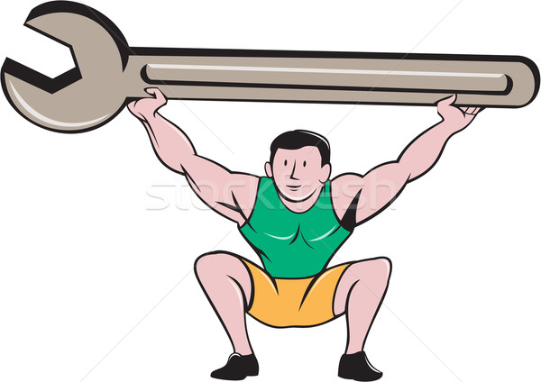 Mechaniker Heben Riese Schraubenschlüssel Schraubenschlüssel Karikatur Stock foto © patrimonio