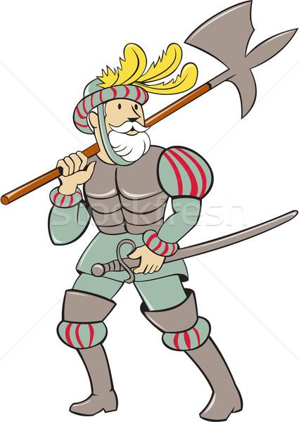 Spanish Conquistador Ax Sword Cartoon Stock photo © patrimonio