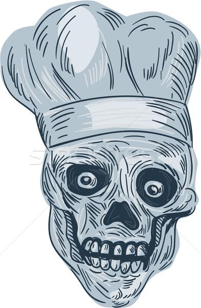 Koponya szakács szakács rajz rajz stílus Stock fotó © patrimonio