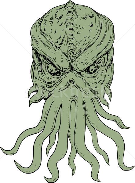 Tenger szörny fej rajz rajz stílus Stock fotó © patrimonio