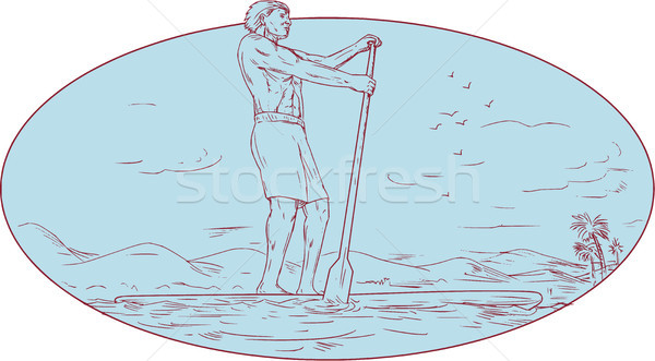 Guy Stand Up Paddle Tropical Island Oval Drawing Stock photo © patrimonio