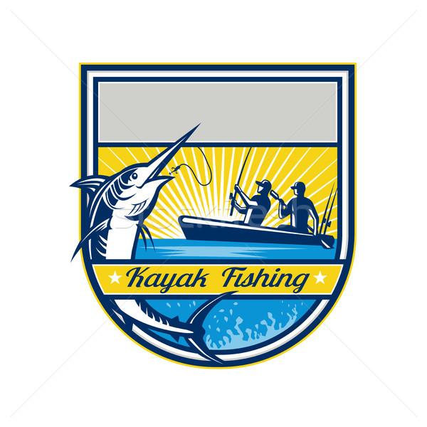 Kajak vissen Blauw badge retro stijl Stockfoto © patrimonio