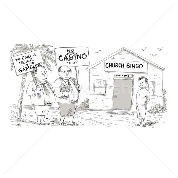 Церкви Cartoon стиль иллюстрация два жира Сток-фото © patrimonio