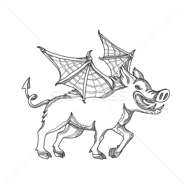 Winged Wild Boar Doodle Art Stock photo © patrimonio