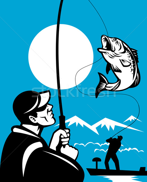 Illustration of a Largemouth Bass Fish jumping being reeled by Fly Fisherman on bass boat with Fishi Stock photo © patrimonio
