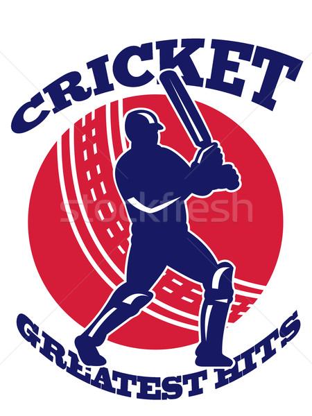 Cricket speler retro illustratie bat retro-stijl Stockfoto © patrimonio