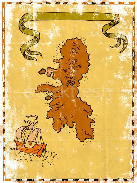 карта сокровище острове высокий судно иллюстрация Сток-фото © patrimonio
