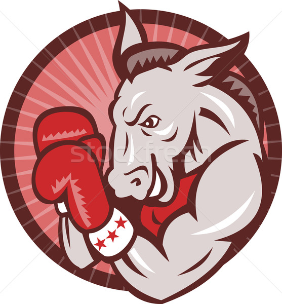 Demokrat Esel Maskottchen Boxer Boxen Retro Stock foto © patrimonio
