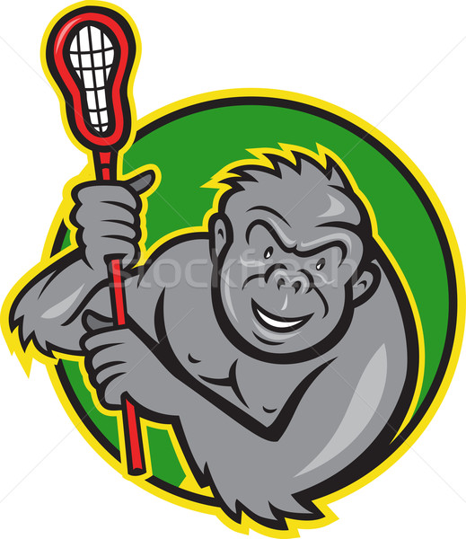 Gorilla aap lacrosse stick cartoon illustratie Stockfoto © patrimonio
