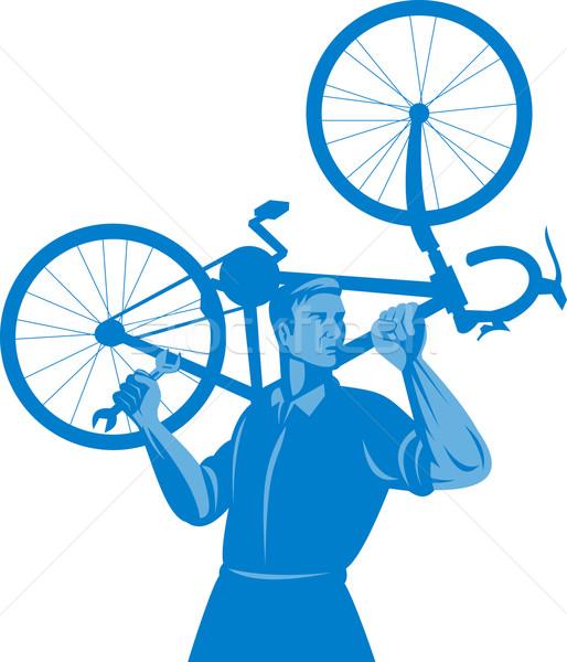 Kerékpáros szerelő tart csavarkulcs szállít bicikli Stock fotó © patrimonio