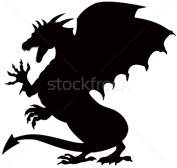 Dragon Fighting Silhouette Stock photo © patrimonio