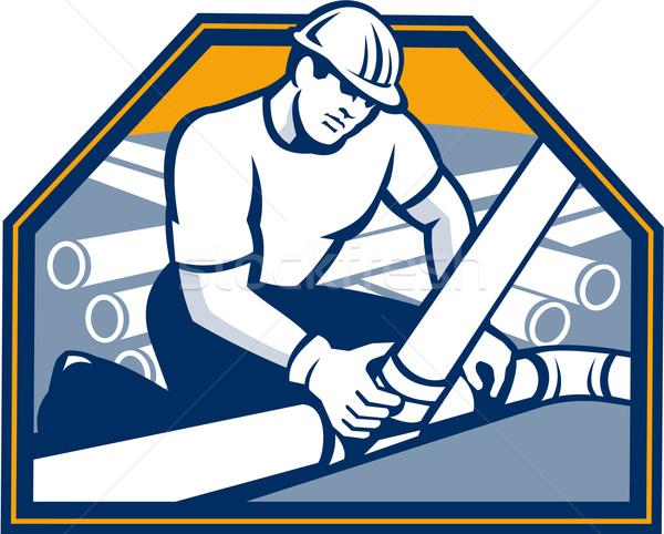 Drainlayer Worker Laying Pipes Retro Stock photo © patrimonio