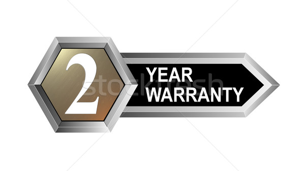 Rok gwarancja sześciokąt pieczęć ilustracja srebrny Zdjęcia stock © patrimonio