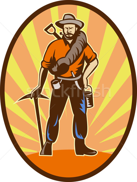 Miner, prospector or gold digger with pick axe and shovel  Stock photo © patrimonio