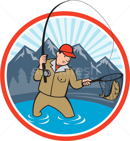 Stock photo: Fly Fisherman Catching Trout Fish Cartoon