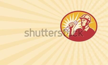 Villanyszerelő erő vonal munkás villám mutat Stock fotó © patrimonio
