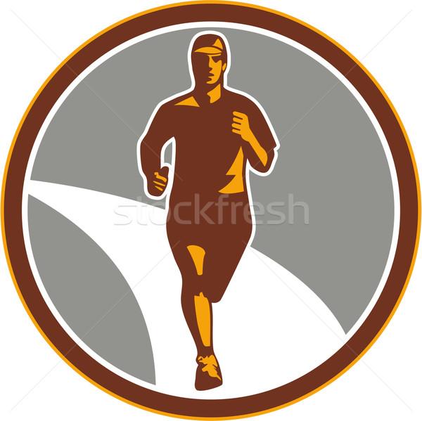 Marathon coureur cercle rétro illustration Photo stock © patrimonio