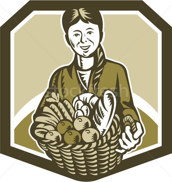 Female Organic Farmer Crop Harvest Woodcut Stock photo © patrimonio