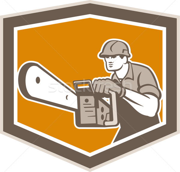 Arborist Lumberjack Operating Chainsaw Shield Stock photo © patrimonio