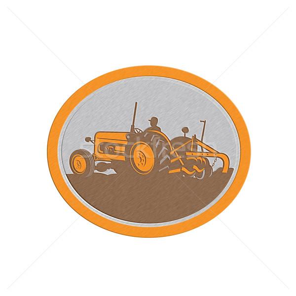 Métallique vintage ferme tracteur agriculteur ovale Photo stock © patrimonio