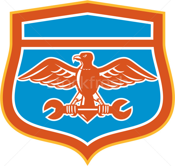 орел гаечный ключ щит ретро иллюстрация Сток-фото © patrimonio