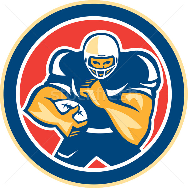 American Football Player Fend Off Circle Retro Stock photo © patrimonio