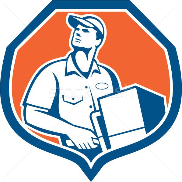 Delivery Worker Deliver Package Carton Box Retro Stock photo © patrimonio