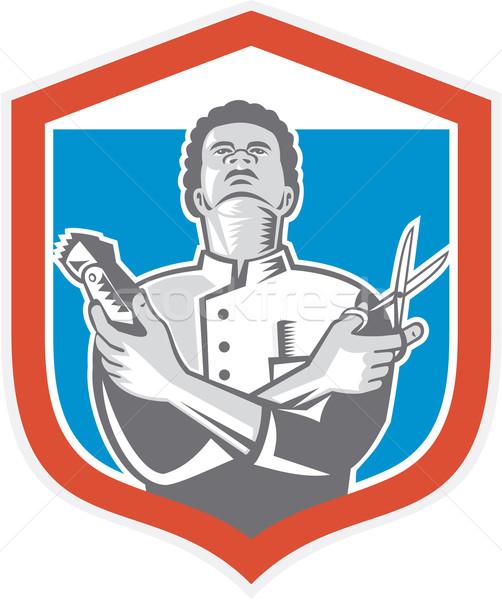 Barber Hair Clipper Scissors Shield Retro  Stock photo © patrimonio