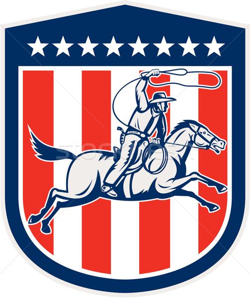 アメリカン ロデオ カウボーイ 馬 シールド レトロな ストックフォト © patrimonio