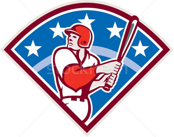 American Baseball Batter Hitter Bat Diamond Retro Stock photo © patrimonio