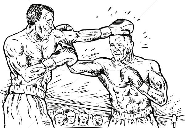 Kettő boxeralsó gyufa feketefehér illusztráció rajz Stock fotó © patrimonio