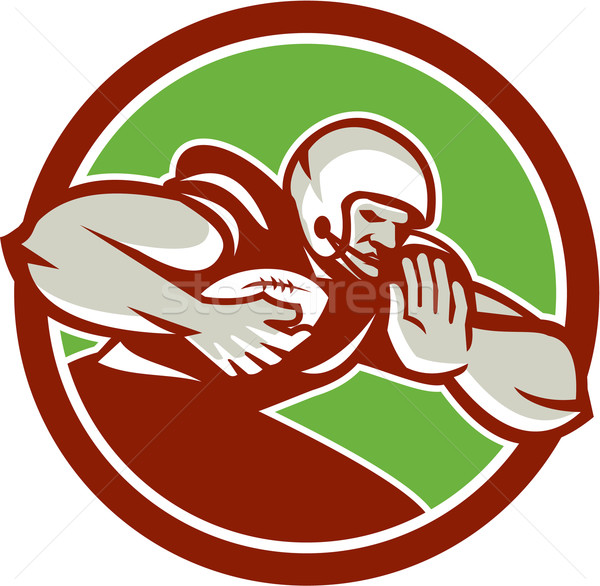 American Football Player Rushing Fending Circle Retro Stock photo © patrimonio