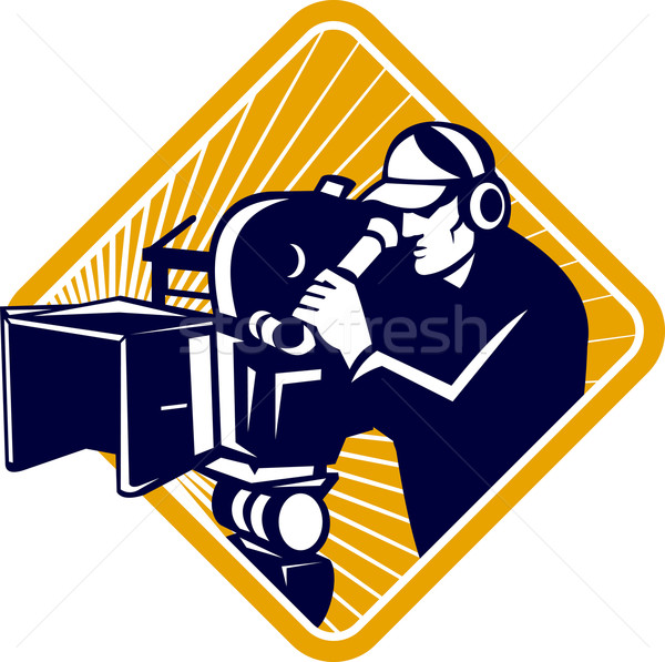 Film Crew Cameraman Shooting Filming Camera Shield Stock photo © patrimonio