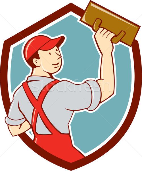 Kőművesmunka pajzs rajz illusztráció kereskedő építőmunkás Stock fotó © patrimonio