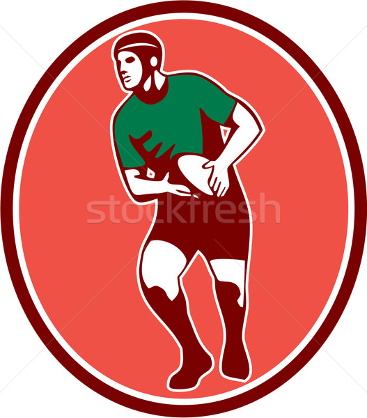 Rugby Player Running Passing Ball Retro Stock photo © patrimonio