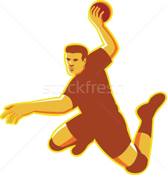 ストックフォト: ハンドボール · プレーヤー · ジャンプ · レトロな · 実例 · 手