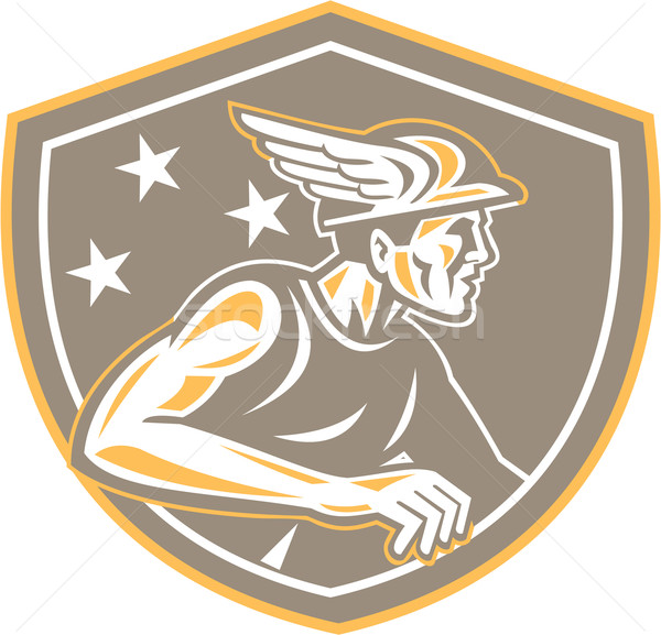 Mercury Looking Side Shield Retro Stock photo © patrimonio