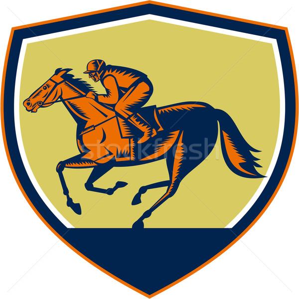 ジョッキー 競馬 シールド 実例 馬 レース ストックフォト © patrimonio