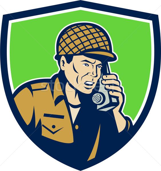 World War Two American Soldier Talk Radio Shield Stock photo © patrimonio