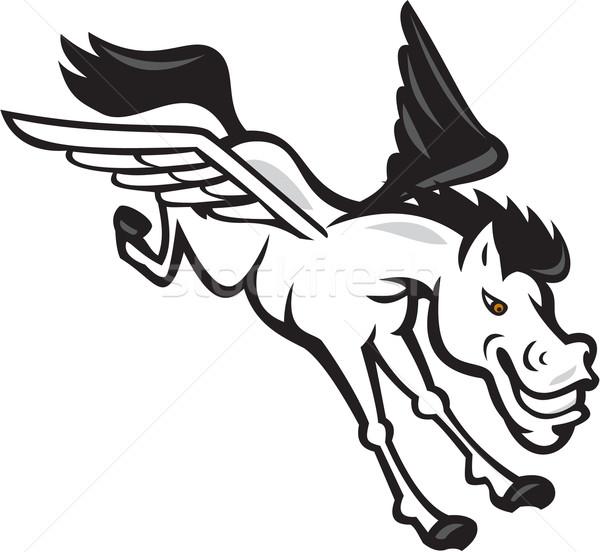 Pegasus Flying Horse Cartoon Stock photo © patrimonio