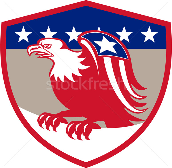American Eagle Flag Wings Perching Crest Retro Stock photo © patrimonio